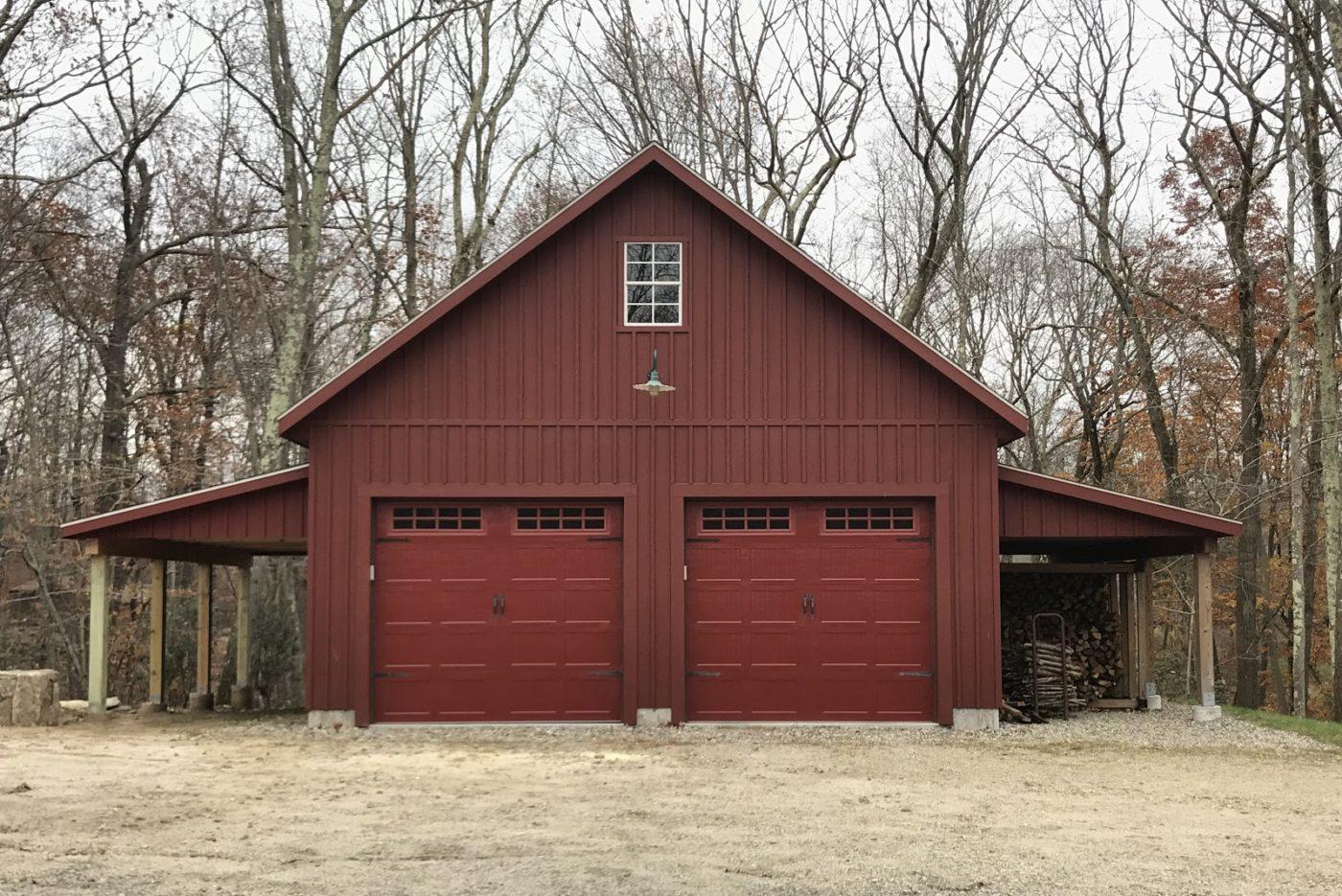 prefab two car garage with lean to