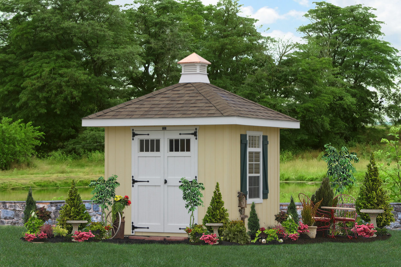 custom shed with hip roof