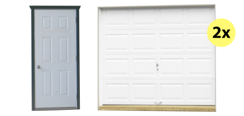 two car shed and garage doors