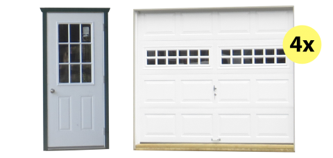 four car legacy shed and garage doors