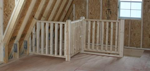 two story shed stairway prefab garage pa 1