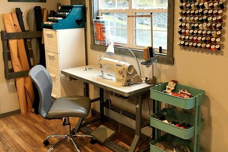 sewing room in a backyard building