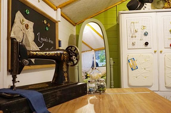 sewing room in backyard shed