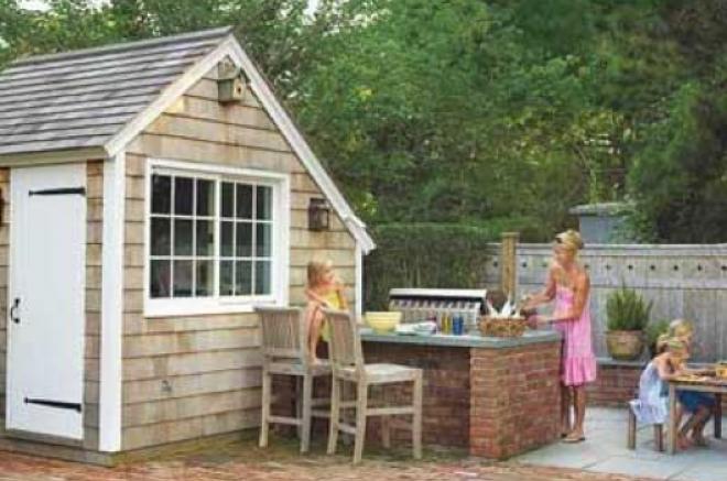 backyard kitchen beside shed