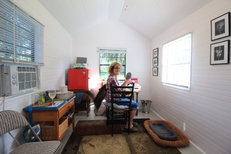 cookbook writing in a storage shed