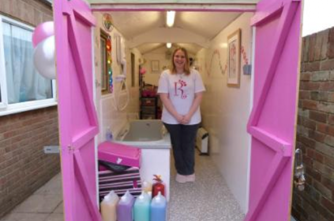 dog grooming parlor in a storage shed