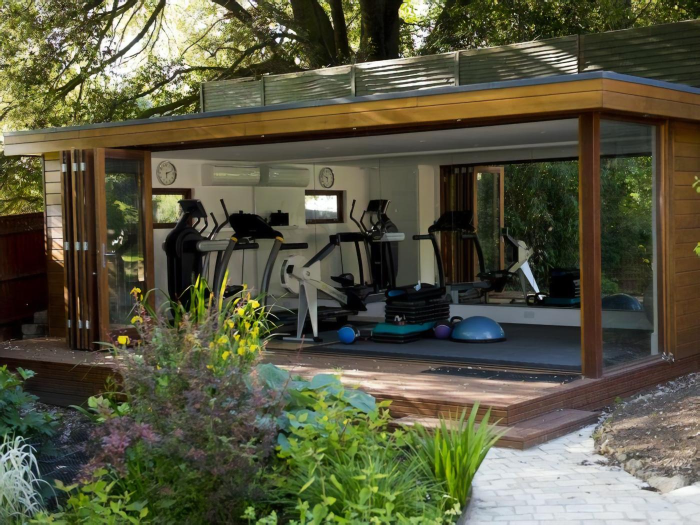garden gym in a storage shed