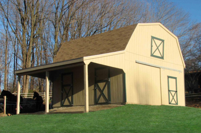 horse barn with hay storage