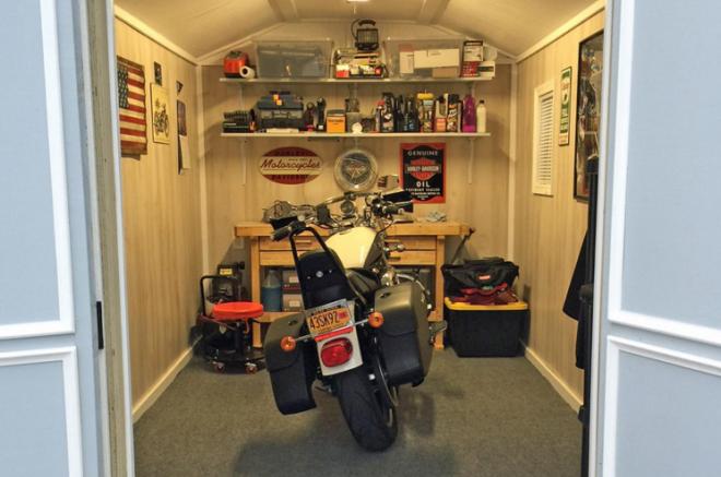 motorcycle storage sheds