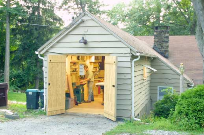 woodworking shop in a shed