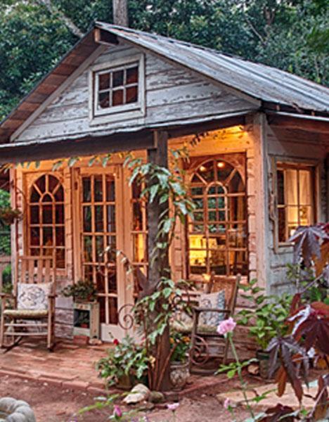 custom potting shed for backyard gardening