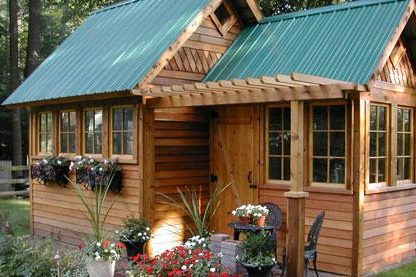shed for potting in backyard