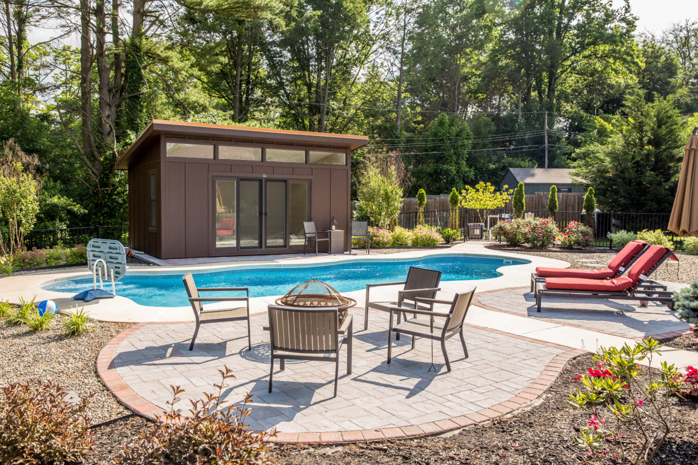 modern studio pool house cabana