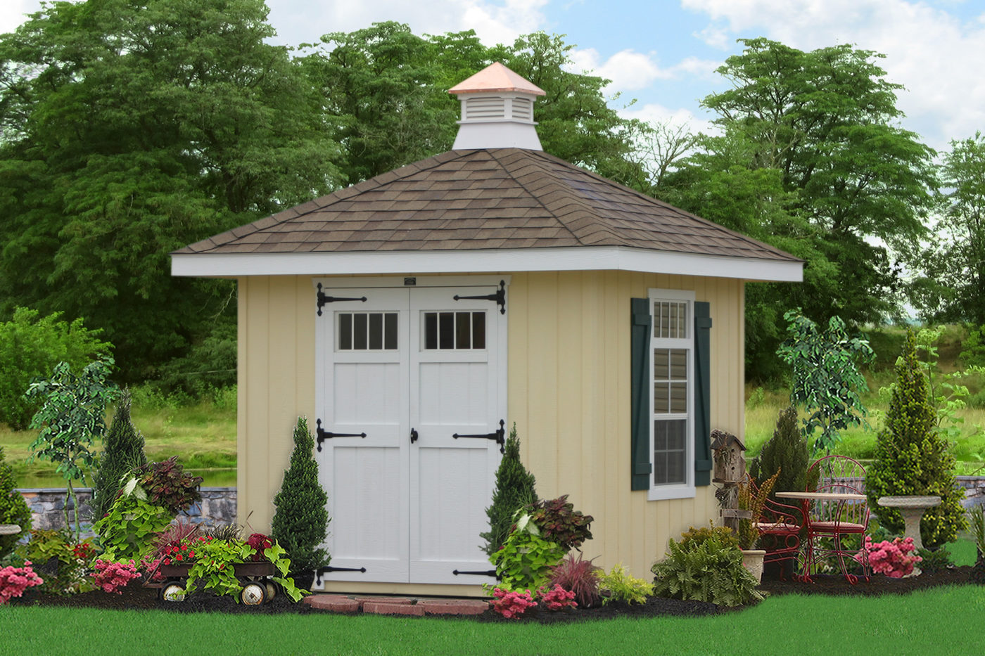 hip roof amish shed