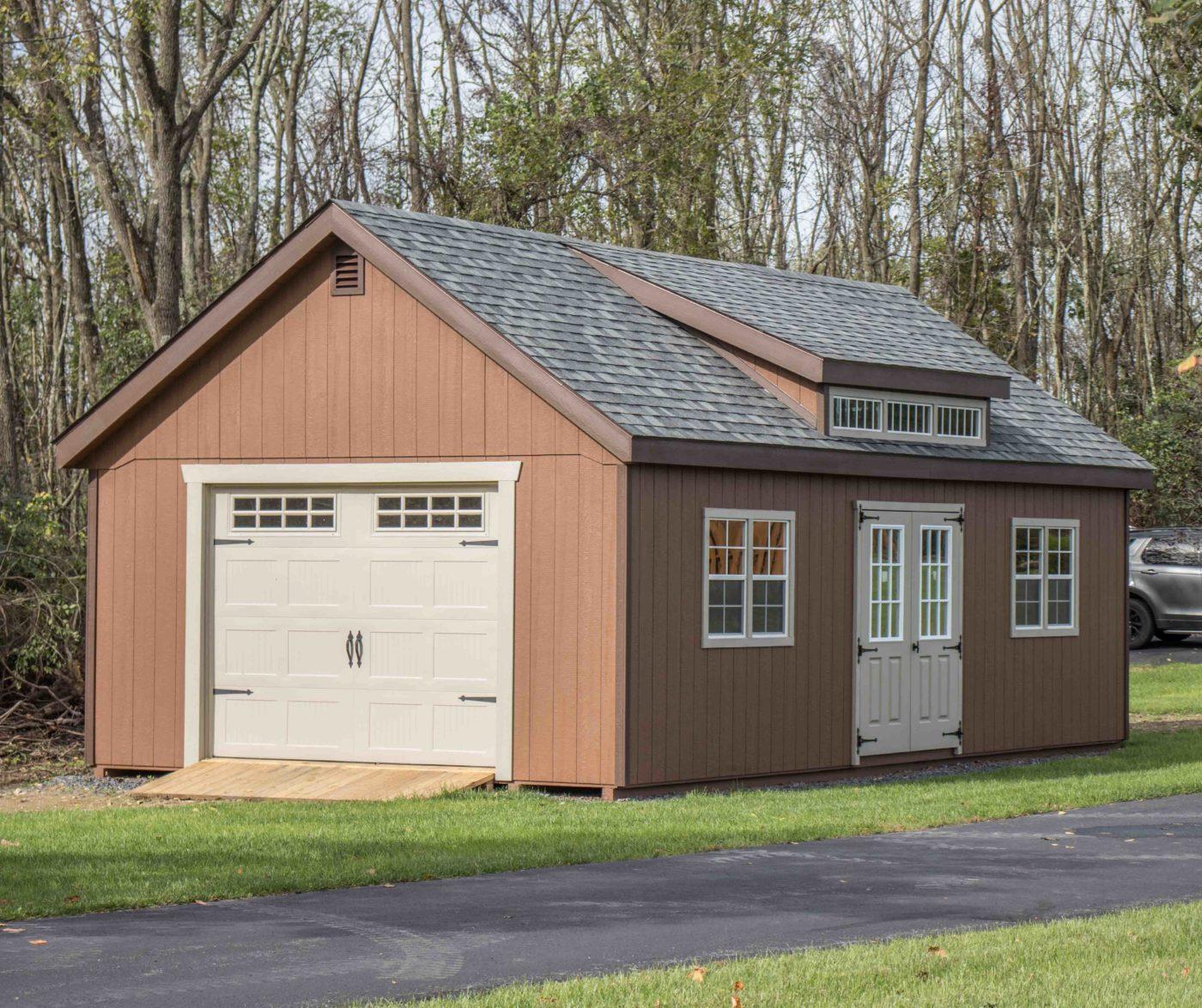 amish built woooden garage