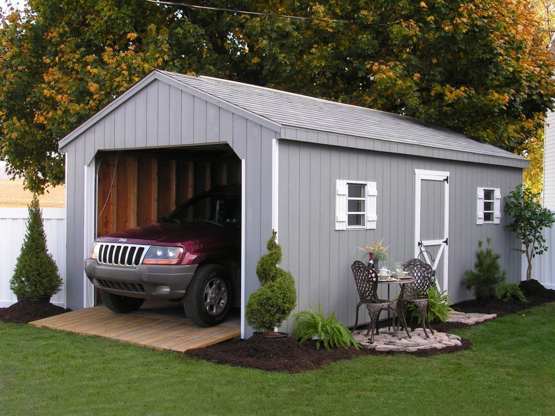 single car amish built garage