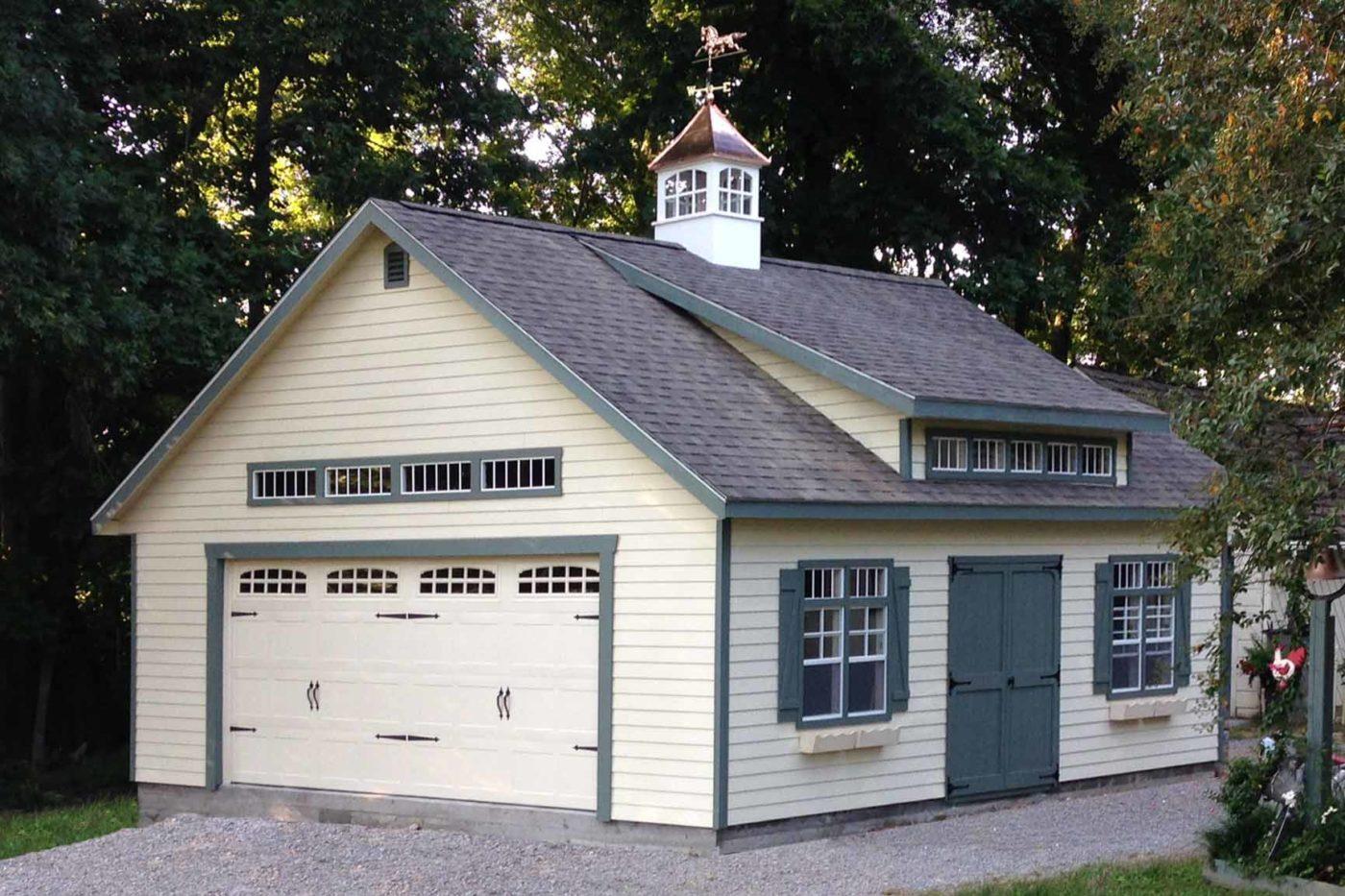 wooden clapboard garage amish built