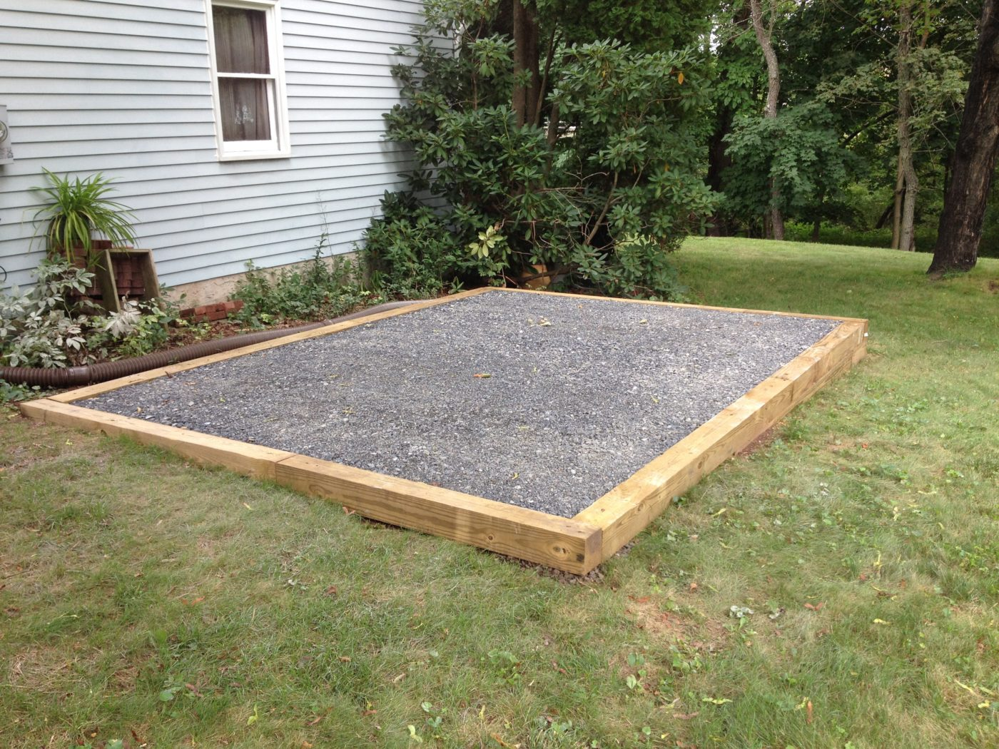 portable storage shed gravel pad