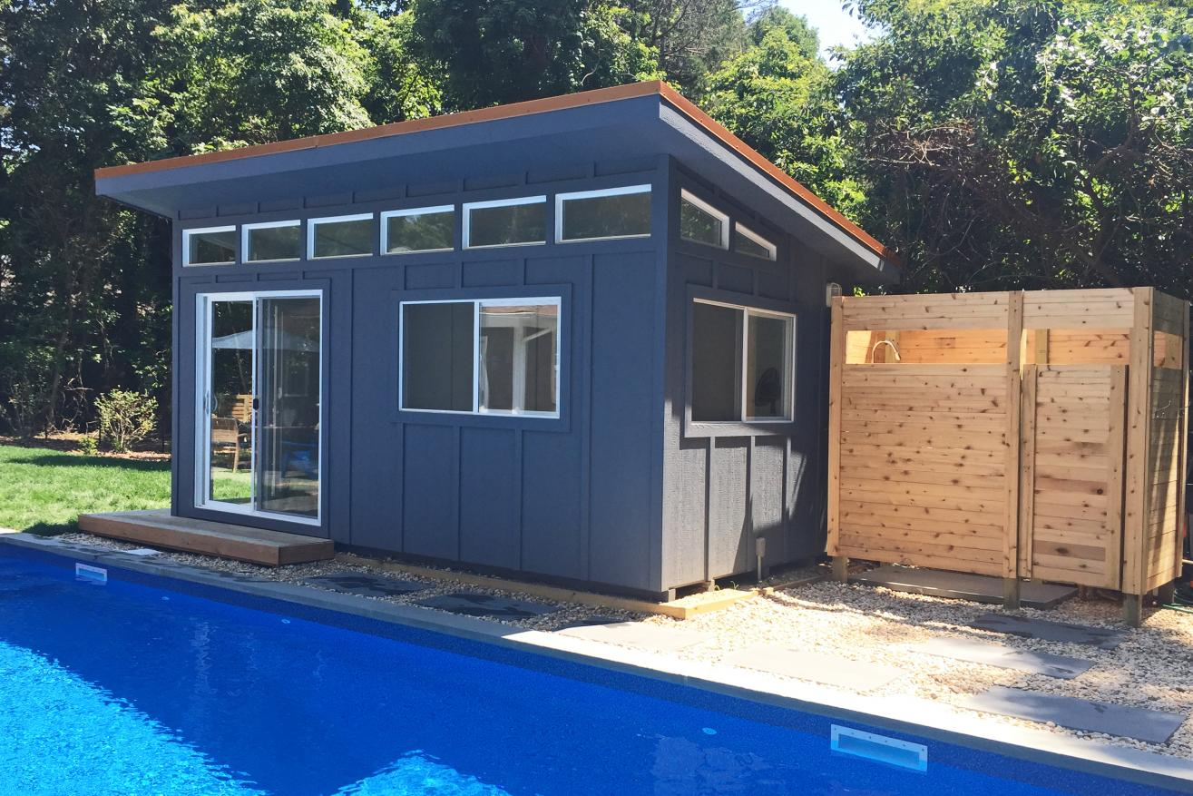 pool house modern garden shed