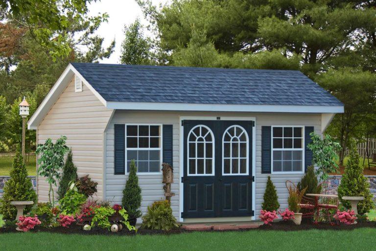 outdoor saltbox shed in vinyl