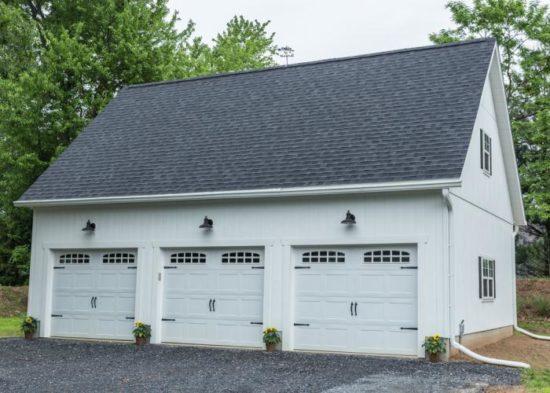three car garage with attic