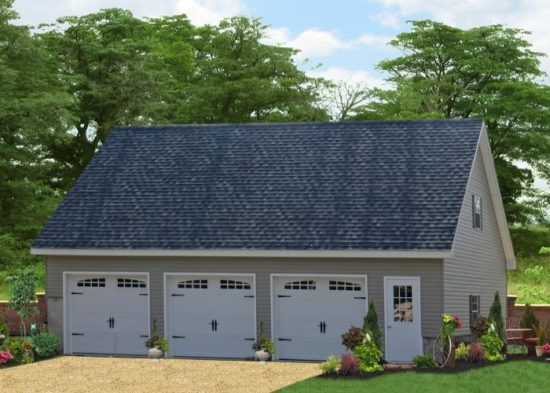 three bay garage with second floor pa