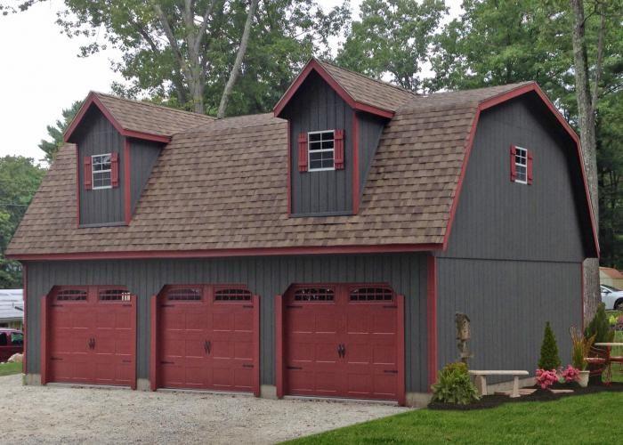 detached amish car garage with loft space