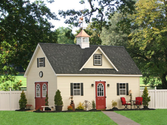 two story vinyl sided shed