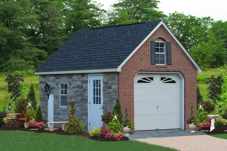 stone and brick custom garage
