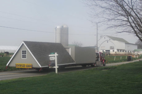 two story shed on the road