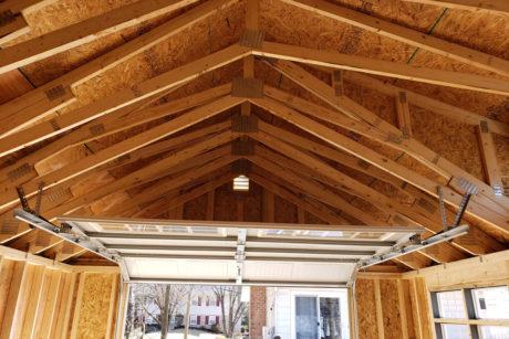 14x24 premier single car garage door and ceiling view