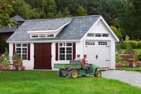 home vehicle garage with slate roof