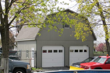 two car garage with attic area