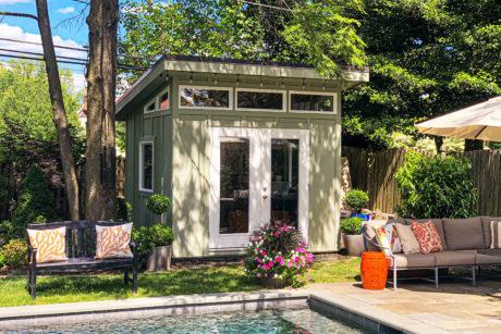 modern prefab shed for pool