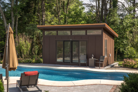 modern shed pool house