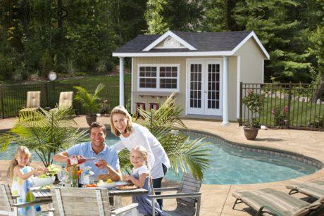 pool house backyard