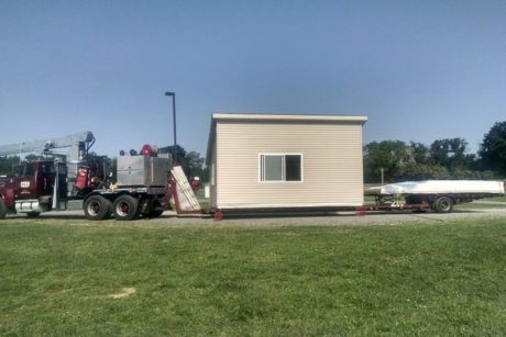 modular two story lean to for sports field