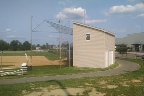 modular two story shed for sports field