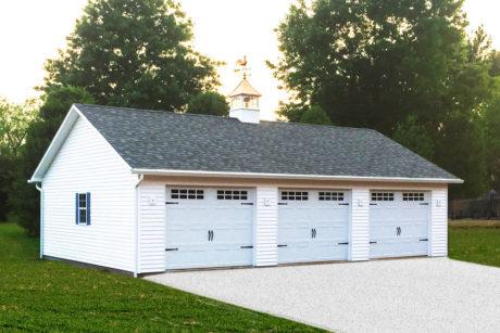 24x36 standard 3 car garage with vinyl siding