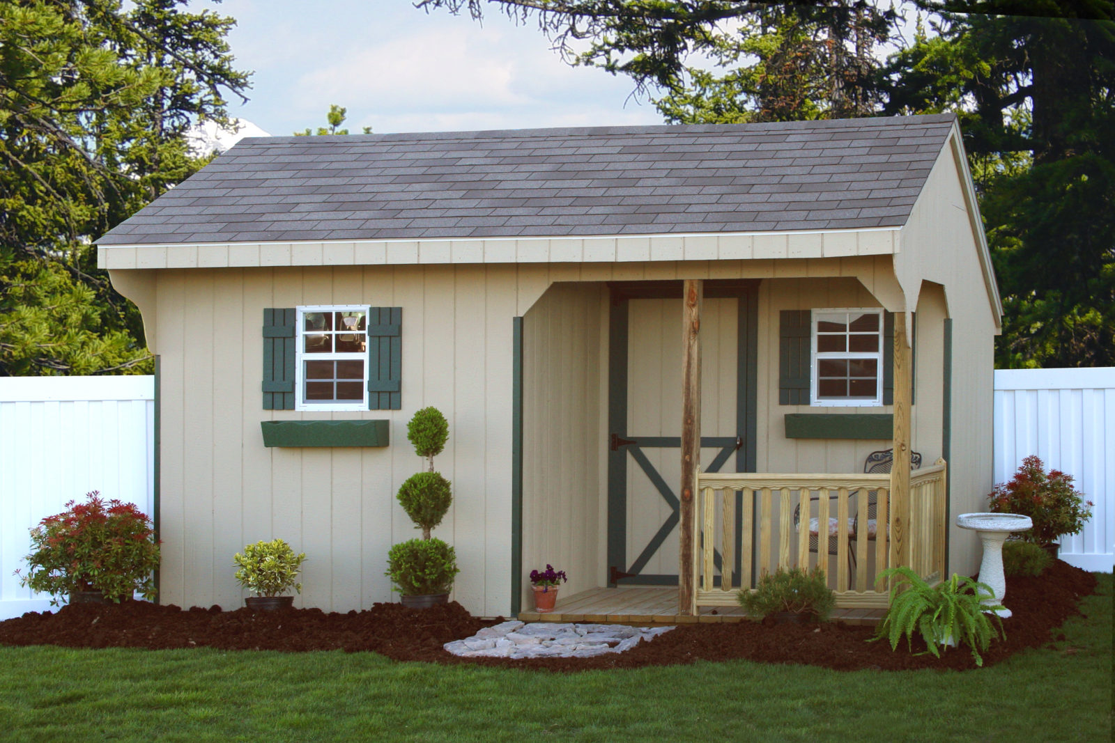ideas for a garden shed with a porch
