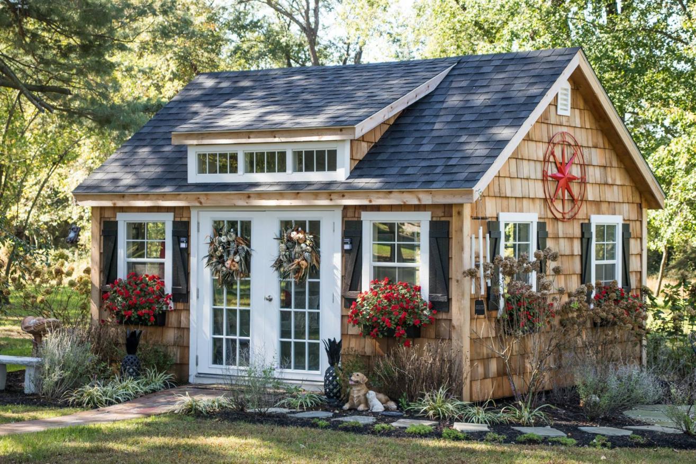 backyard storage sheds landscaping