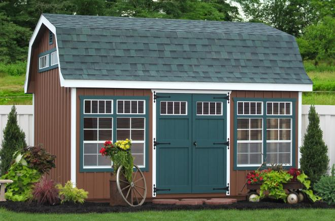 backyard storage sheds with board and batten siding