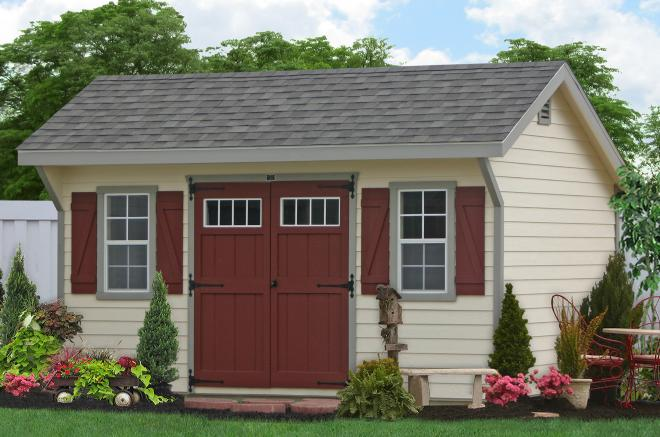 backyard storage sheds with clapboard siding