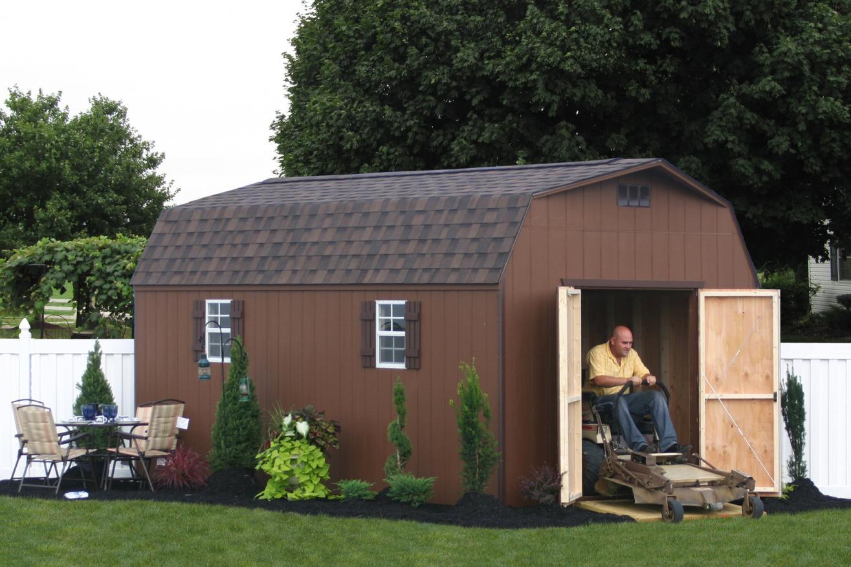 backyard storage sheds with lawn mower