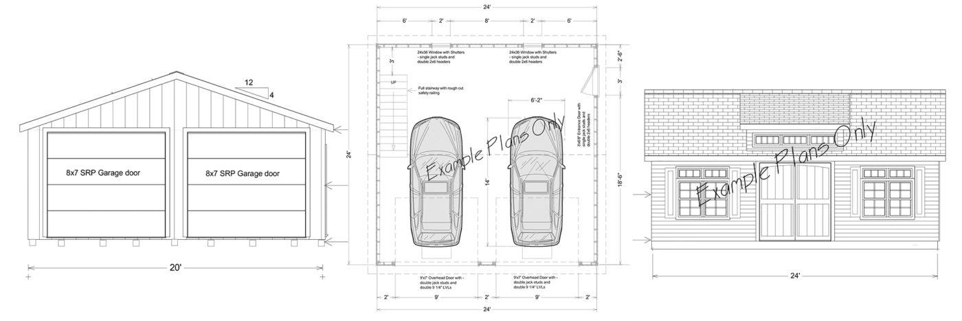 free sample garage plans for one-car and multiple-car garages