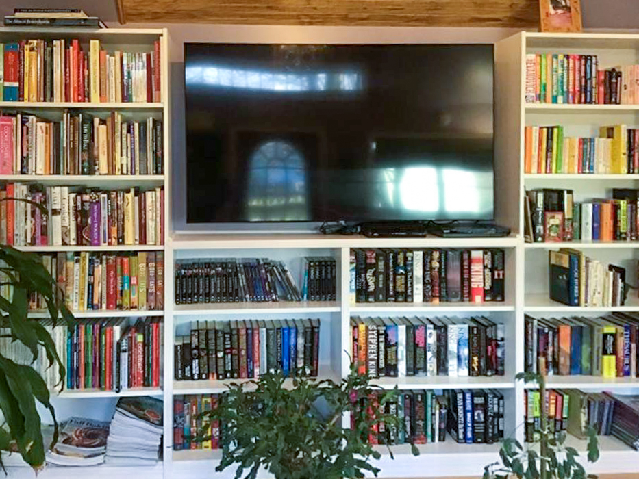 finished bookshelf in she shed