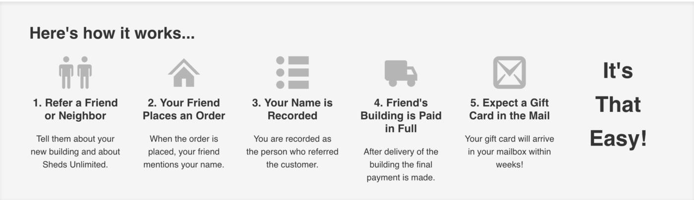 sheds unlimited referral program
