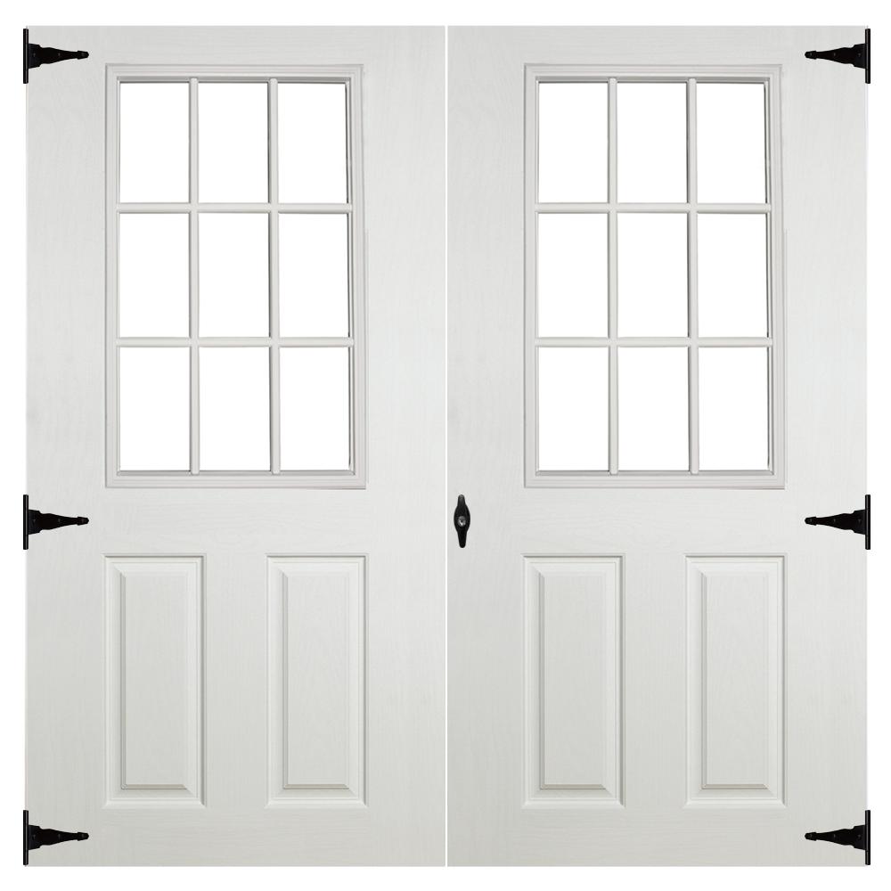 fiberglass 9 lite 6ft double doors for sheds garages