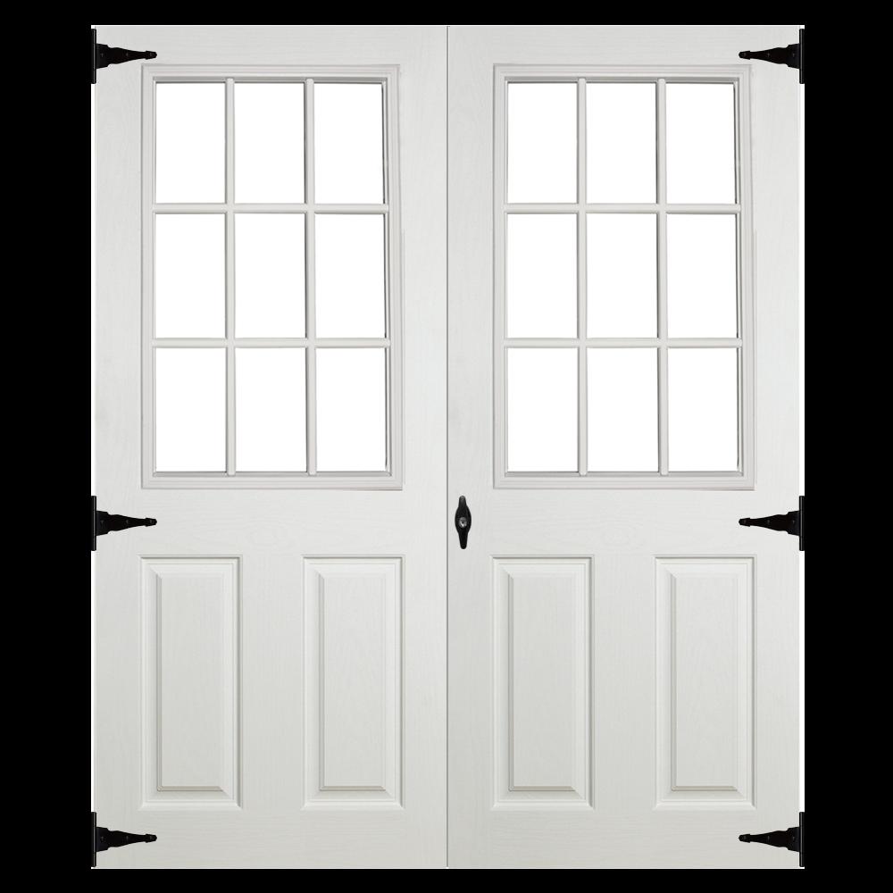 fiberglass slab 9 lite 5ft double door for sheds