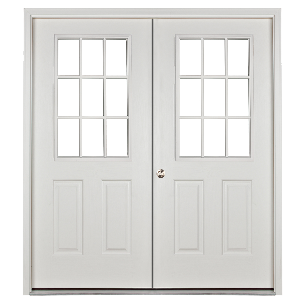 prehung 9 lite 5ft double door for sheds and garages